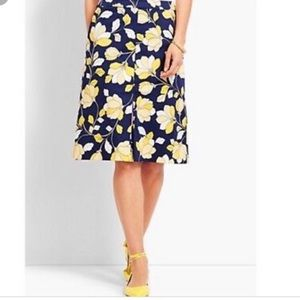 NEW Talbots Navy & Yellow Floral A Line Skirt
